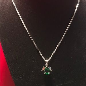 Jewelry - Girl Angel Wings Green Silver Necklace